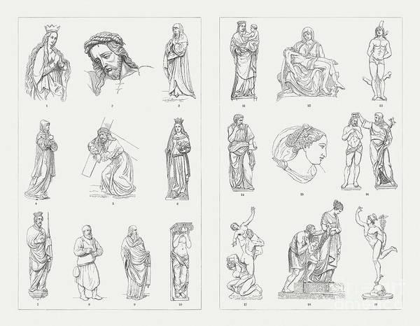 Antonio Pisano Pisanello Art Print featuring the digital art German And Italian Sculptures by Zu 09