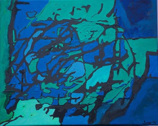 Gloomy Art Print featuring the painting Gloomy Blues by Sonye Locksmith