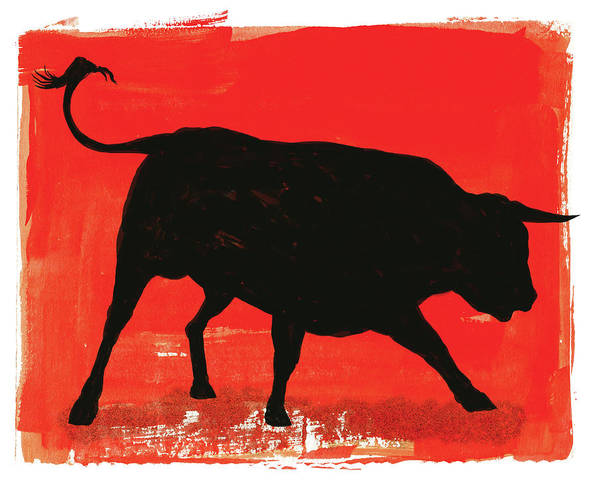 Bull Market Art Print featuring the digital art Graphic Bull Illustration by Don Bishop