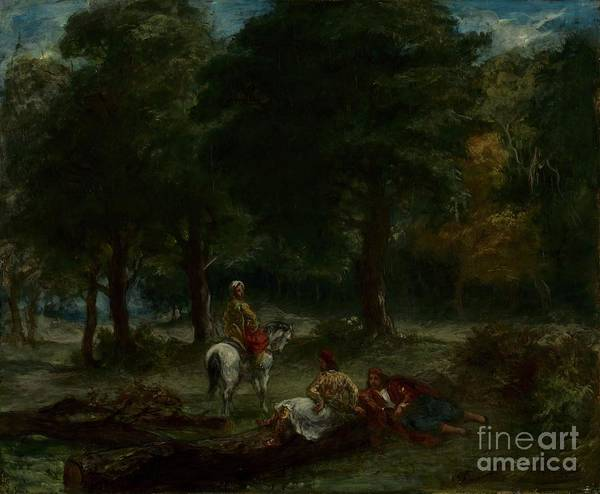 19th Century Art Print featuring the drawing Greek Cavalry Men Resting In Forest by Heritage Images