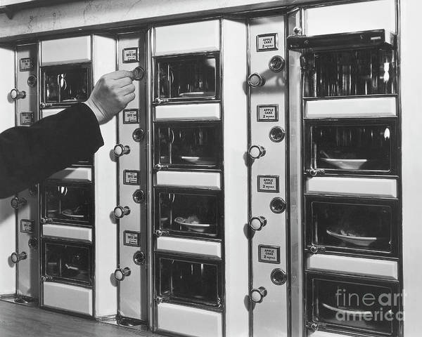Coin Art Print featuring the photograph Hand Placing Coin Into Automat Lunch by Bettmann