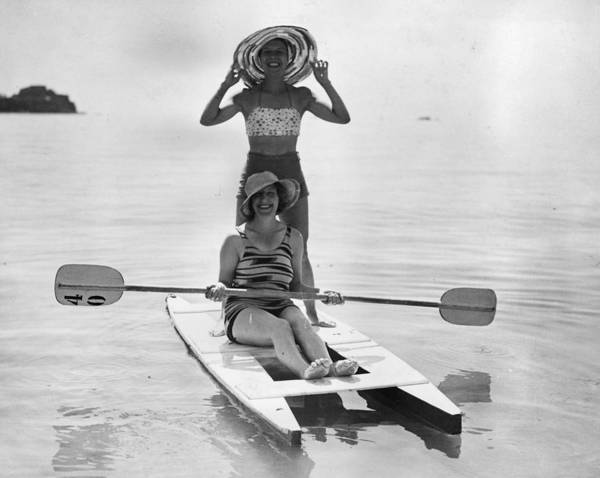 Recreational Pursuit Art Print featuring the photograph Holiday Canoers by E. Phillips