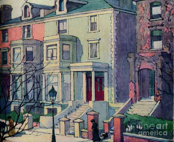 Row House Art Print featuring the drawing Houses In Sunlight, Hampstead, C20th by Print Collector