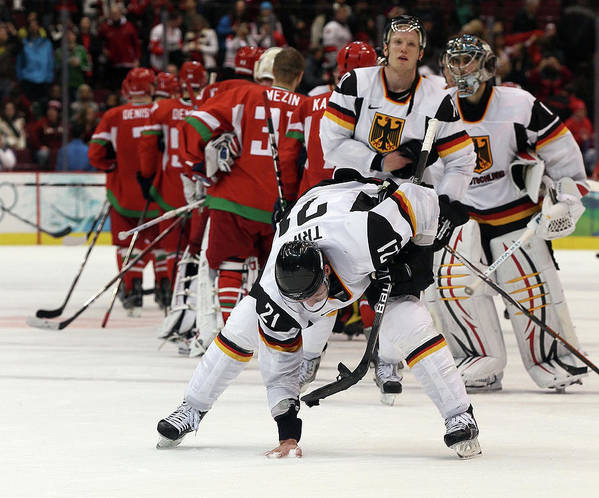 Defeat Art Print featuring the photograph Ice Hockey - Day 9 - Germany V Belarus by Bruce Bennett