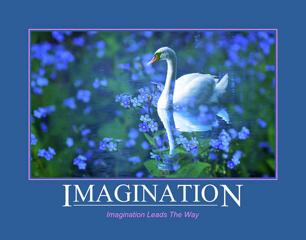 White Swan Art Print featuring the mixed media Imagination Leads The Way by Clive Littin