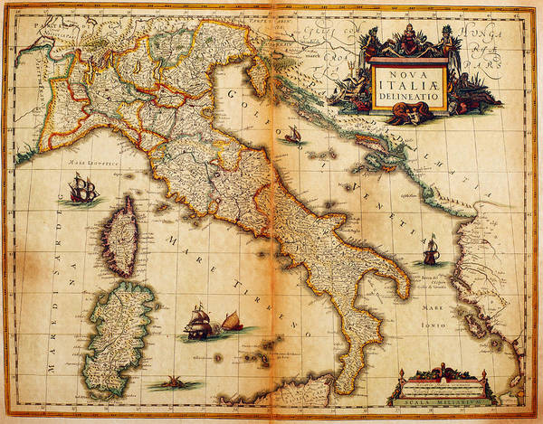 Engraving Art Print featuring the digital art Italy Map 1635 by Nicoolay