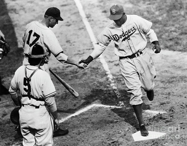 First Baseman Art Print featuring the photograph Jackie Robinson At Home Plate, 1947 by Bettmann