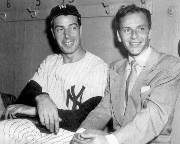 American League Baseball Art Print featuring the photograph Joe Dimaggio And Frank Sinatra At by New York Daily News Archive