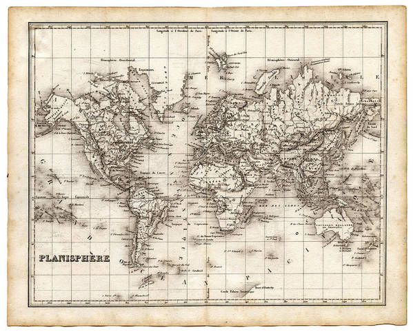Oceania Art Print featuring the digital art Map Of The World 1842 by Thepalmer