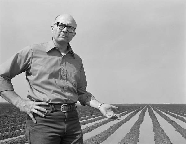 Mature Adult Art Print featuring the photograph Mature Man Gesturing At Ploughed Field by Tom Kelley Archive