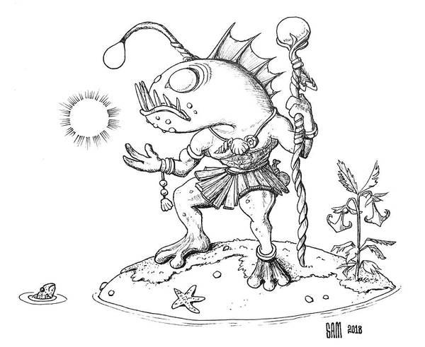 Murloc Art Print featuring the drawing Murloc by Sami Matilainen