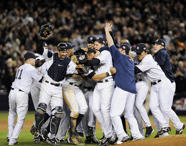 American League Baseball Art Print featuring the photograph New York Yankees Celebrate After by New York Daily News Archive
