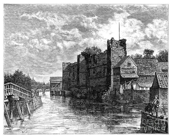Nottinghamshire Art Print featuring the drawing Newark Castle And The River Trent by Print Collector