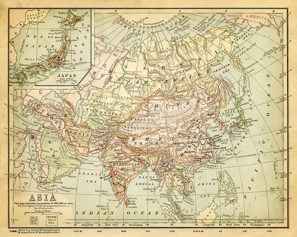 Burnt Art Print featuring the digital art Old Map Of Asia by Thepalmer
