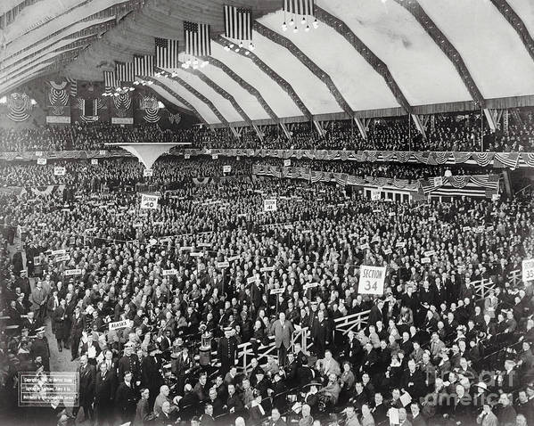 People Art Print featuring the photograph Opening Of G.o.p. Convention by Bettmann