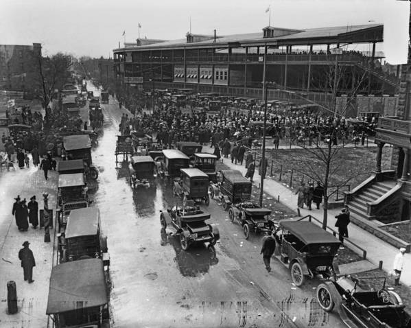Outdoors Art Print featuring the photograph Outside Wrigley Field by Chicago History Museum