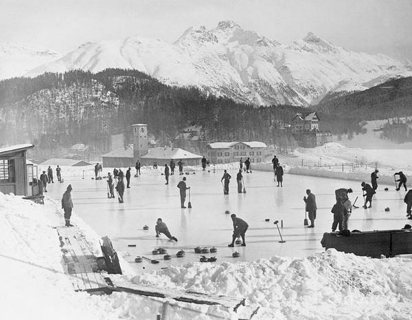 People Art Print featuring the photograph People Enjoying Curling Rink by Bettmann