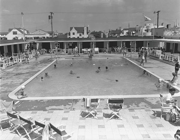 Rectangle Art Print featuring the photograph People Swimming In Pool, B&w, Elevated by George Marks