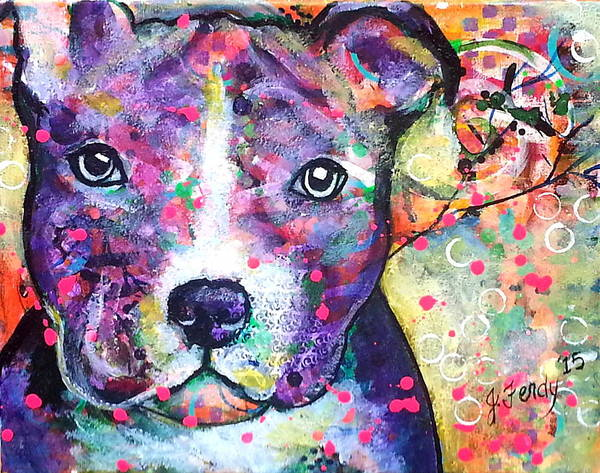 Pit Bull Art Print featuring the painting Pit Bull by Goddess Rockstar