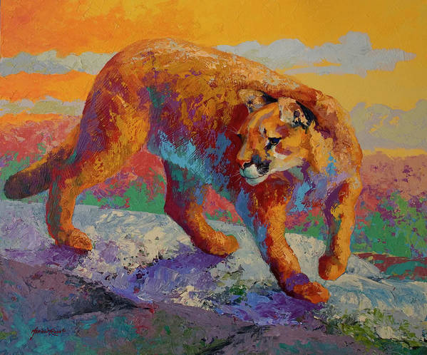 Ridge Cougar Art Print featuring the painting Ridge Cougar by Marion Rose