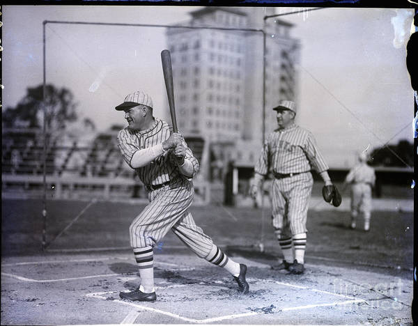 People Art Print featuring the photograph Rogers Hornsby Batting @ Spring Training by Bettmann