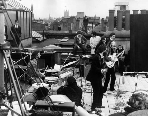 Rock Music Art Print featuring the photograph Rooftop Beatles by Express