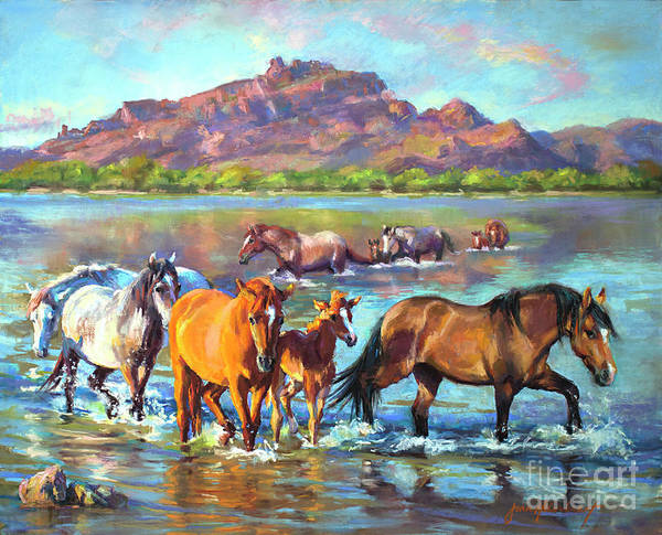 Pastel Art Print featuring the painting Salt River Solitude by Jean Hildebrant