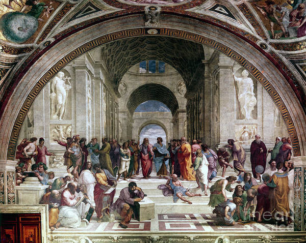 Education Art Print featuring the drawing School Of Athens, C1510. Artist Raphael by Print Collector