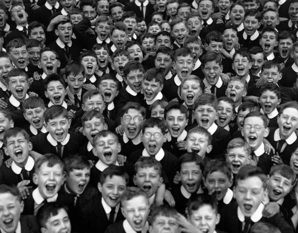 Crowd Art Print featuring the photograph Schoolboys Cheer by Fox Photos