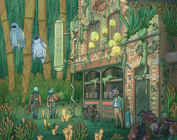 Art Print featuring the digital art Schubas Tied House by EvanArt - Evan Miller