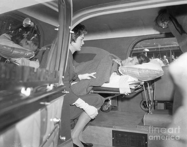 Ambulance Art Print featuring the photograph Senator John Kennedy In Ambulance by Bettmann
