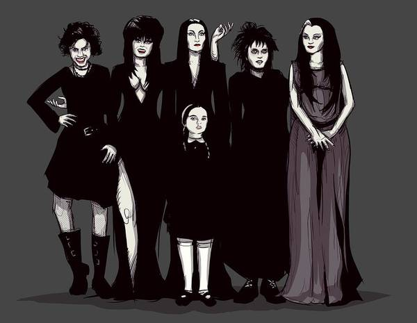 Craft Art Print featuring the drawing Spooky Girls by Ludwig Van Bacon