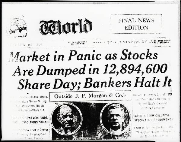 People Art Print featuring the photograph Stock Market Crash On World Headline by Bettmann