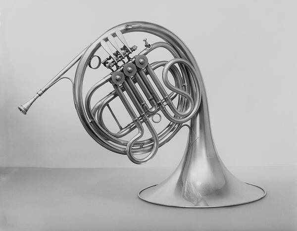 White Background Art Print featuring the photograph Studio Shot Of French Horn by George Marks