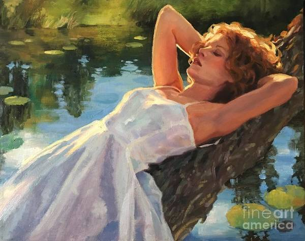 Water Art Print featuring the painting Summer Idyll by Jean Hildebrant