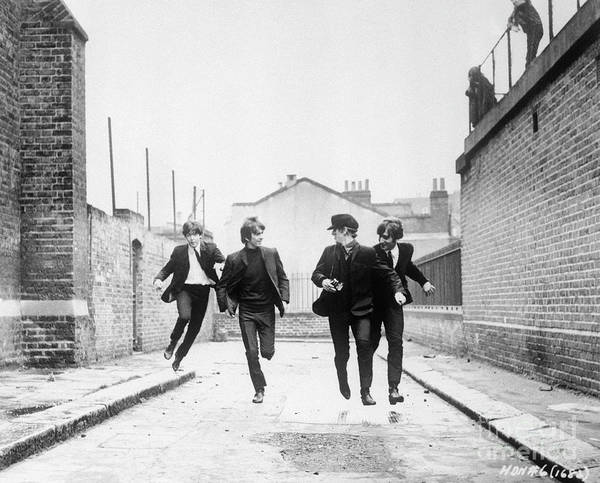 People Art Print featuring the photograph The Beatles Running In A Hard Days Night by Bettmann
