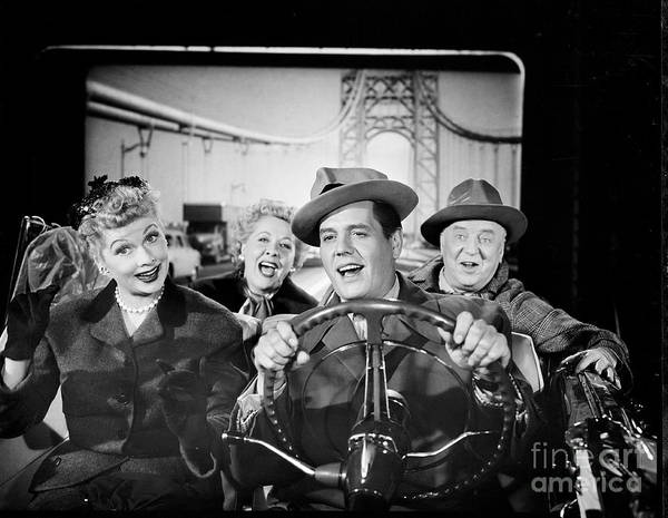 Fedora Art Print featuring the photograph The Cast Of I Love Lucy by Cbs Photo Archive