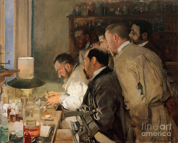 Oil Painting Art Print featuring the drawing The Research. Artist Sorolla Y Bastida by Heritage Images