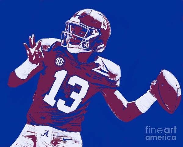 Tagovailoa Art Print featuring the painting Tua Tagovailoa by Jack Bunds
