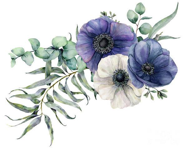 Watercolor Painting Art Print featuring the digital art Watercolor Elegant Bouquet by Yuliya Derbisheva