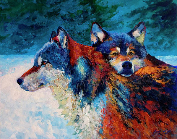 Animals Art Print featuring the painting Wolves by Marion Rose