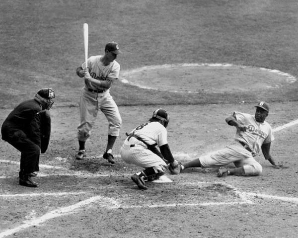1950-1959 Art Print featuring the photograph Yogi Has It Out. Jackie Robinson, With by New York Daily News Archive