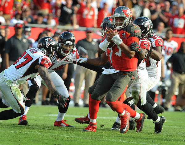People Art Print featuring the photograph Atlanta Falcons v Tampa Bay Buccaneers by Cliff McBride