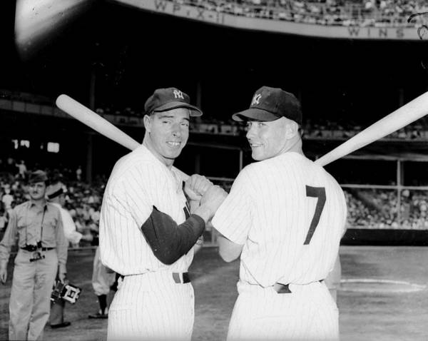 American League Baseball Art Print featuring the photograph Joe Dimaggio and Mickey Mantle by New York Daily News Archive