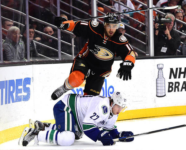 People Art Print featuring the photograph Vancouver Canucks v Anaheim Ducks by Harry How