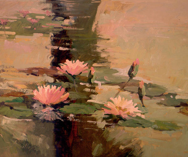 Water Lily Paintings Art Print featuring the painting Pond Blossoms - Water Lilies by Betty Jean Billups