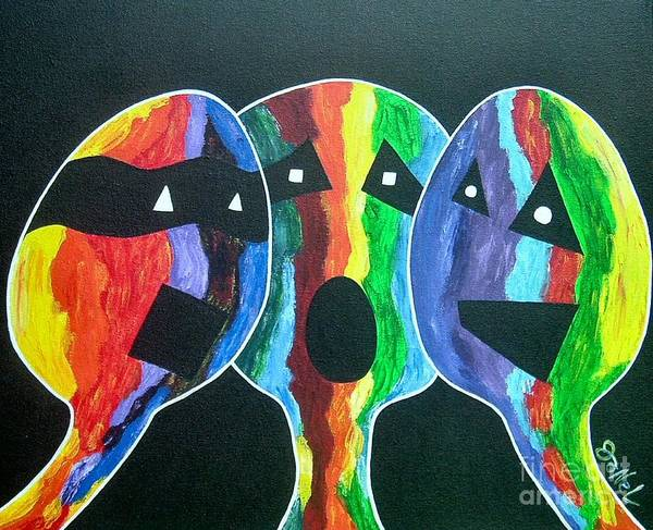 Abstract Art Print featuring the painting 3- Head Singing Trio by JoNeL Art