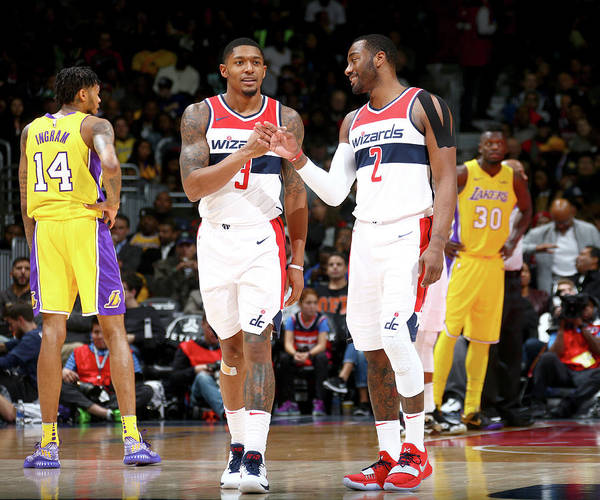 Nba Pro Basketball Art Print featuring the photograph John Wall and Bradley Beal by Ned Dishman