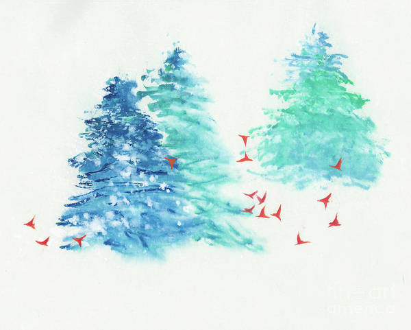 A Flock Of Happy Red Birds Gathers Around A Snowy Wood. It's A Simple Contemporary Chinese Brush Painting On Rice Paper. Art Print featuring the painting A Happy Flock by Mui-Joo Wee