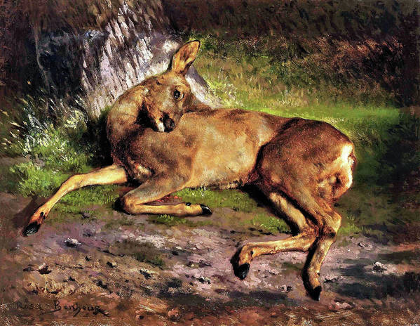 A Roe Deer In The Forest Art Print featuring the painting A Roe Deer In The Forest - Digital Remastered Edition by Rosa Bonheur